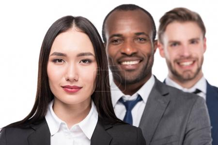 Photo for Portrait of smiling multicultural young business people isolated on white - Royalty Free Image