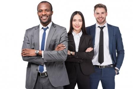 portrait of smiling multicultural young business people isolated on white