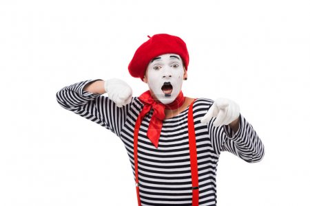 shocked mime pointing on camera isolated on white
