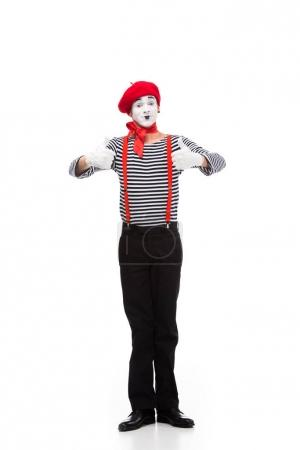 Foto de Feliz mime que muestran los pulgares arriba aisladas en blanco - Imagen libre de derechos