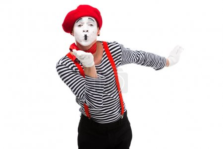 mime sending air kiss isolated on white