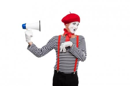 funny mime holding loudspeaker isolated on white