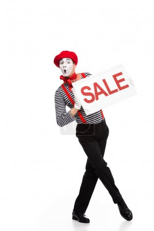 grimacing mime holding sale signboard isolated on white
