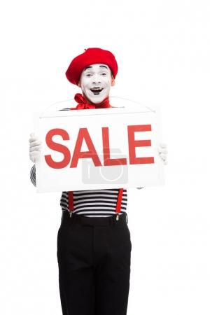 happy mime holding sale signboard isolated on white