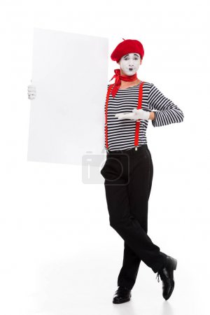 mime showing empty board isolated on white