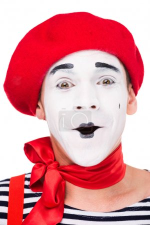 Photo for Portrait of surprised mime isolated on white - Royalty Free Image