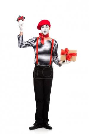 mime holding present boxes isolated on white