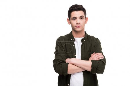 man standing with crossed arms isolated on white