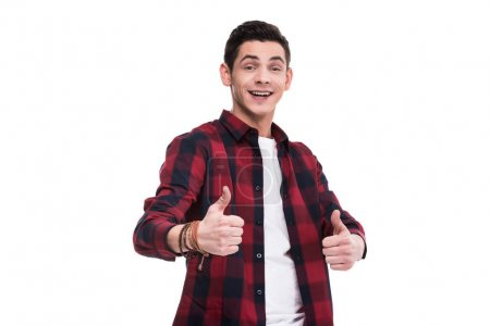 happy man showing thumbs up isolated on white