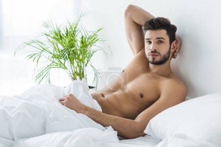 Photo pour Bel homme torse nu se reposant dans un lit blanc - image libre de droit
