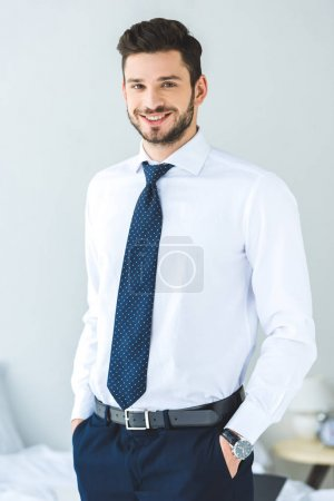 handsome smiling businessman in white shirt and tie