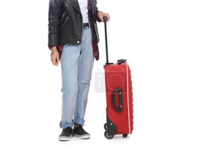 cropped shot of stylish little child with luggage isolated on white