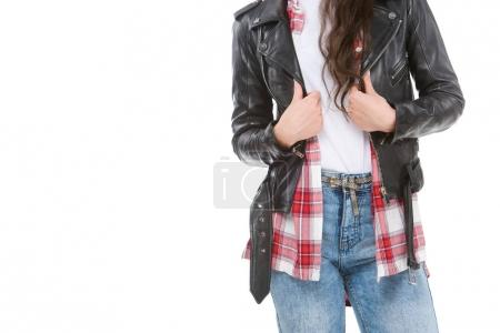 cropped shot of woman in stylish leather jacket isolated on white