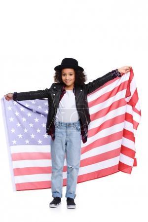 Photo pour Élégant petit enfant avec drapeau américain isolé sur blanc - image libre de droit