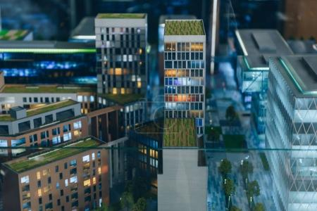 Photo for Close-up shot of plastic miniature model of modern city - Royalty Free Image