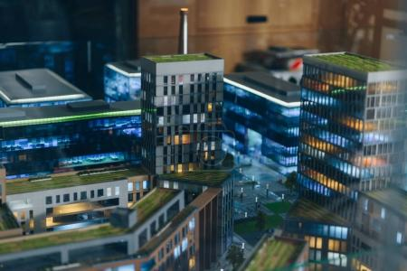 Photo for Close-up shot of miniature model of modern city with skyscrapers - Royalty Free Image