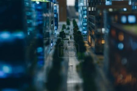 Photo for Close-up shot of street at miniature model of modern city - Royalty Free Image