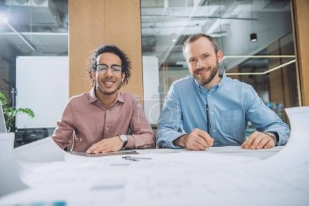 architects working on project together at modern office