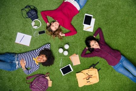 Photo for Overhead view of smiling multicultural students lying on green lawn - Royalty Free Image