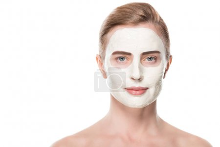 Female with facial skincare mask isolated on white