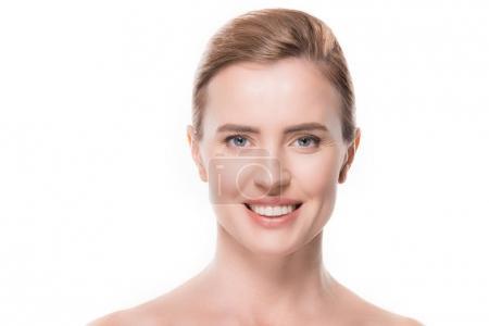 Photo pour Portrait de femme avec une peau propre douce isolée sur blanc - image libre de droit