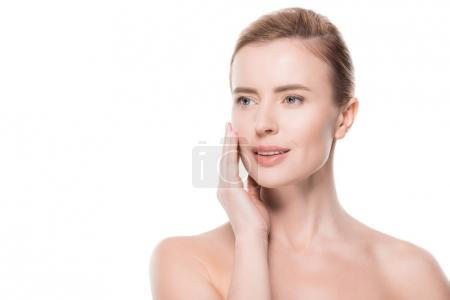 Photo for Woman with clean fresh skin touching own face isolated on white - Royalty Free Image