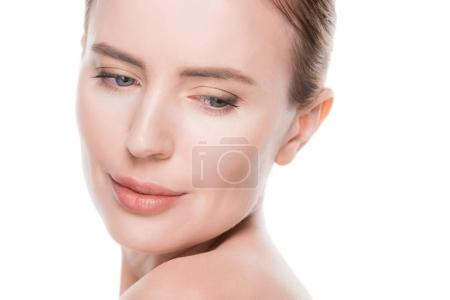 Woman with clean fresh skin isolated on white