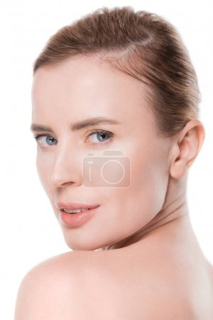 Portrait of woman with fresh clean skin isolated on white