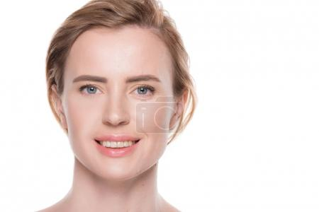 Portrait of woman with clean skin isolated on white