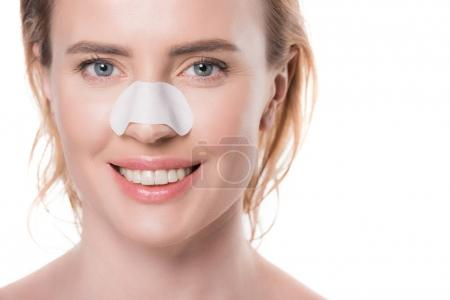 Woman with nose stripe isolated on white