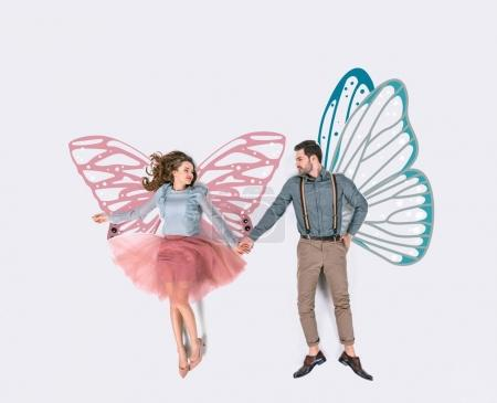 creative hand drawn collage with couple with fairy wings