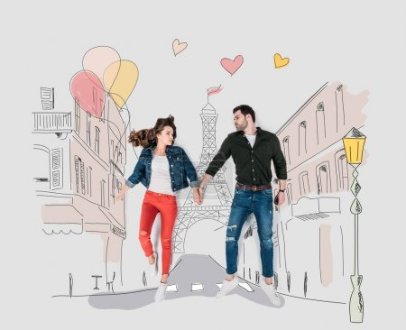 Photo for Creative hand drawn collage with couple walking by paris street - Royalty Free Image