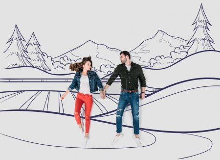 Photo for Creative hand drawn collage with couple walking by beautiful landscape - Royalty Free Image