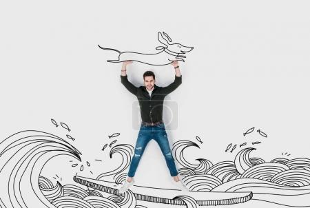 Photo for Creative hand drawn collage with man riding surfboard and carrying dachshund dog - Royalty Free Image