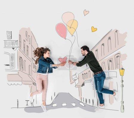 Photo pour Collage dessiné à la main créatif avec un couple présentant des cadeaux de Saint-Valentin les uns aux autres - image libre de droit