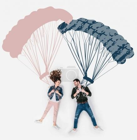 Photo for Creative hand drawn collage with flying with parachutes together - Royalty Free Image