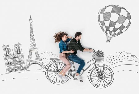 Photo for Creative hand drawn collage with couple riding bike together at paris - Royalty Free Image
