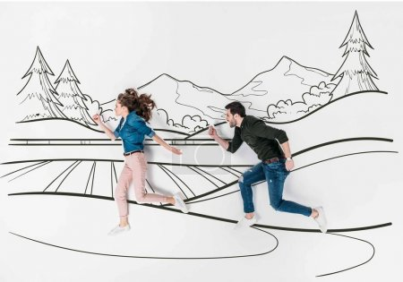 creative hand drawn collage with couple running by mountains landscape