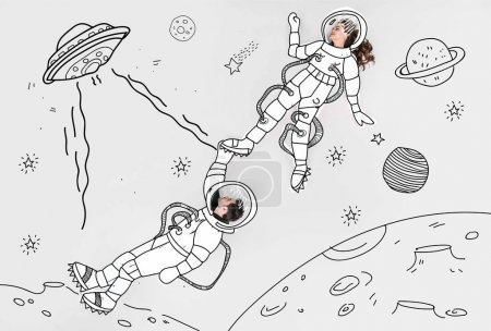 Photo for Creative hand drawn collage with couple in space suits and ufo - Royalty Free Image