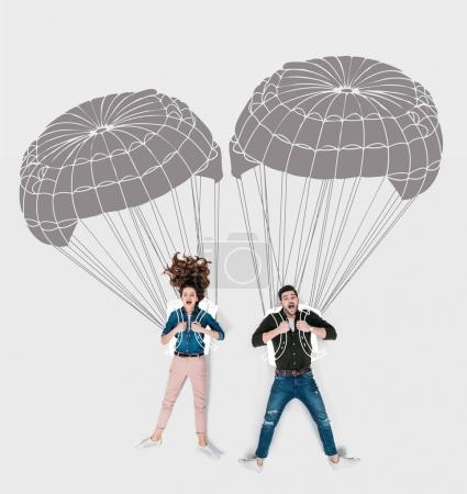 creative hand drawn collage with flying with parachutes together