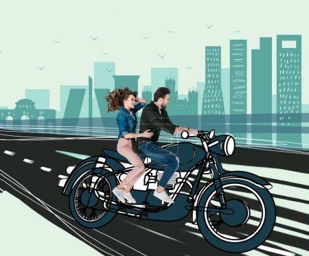 Photo pour Collage dessiné à la main créatif avec couple moto équitation ensemble - image libre de droit