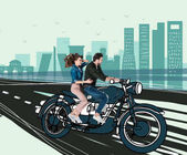 creative hand drawn collage with couple riding motorcycle together