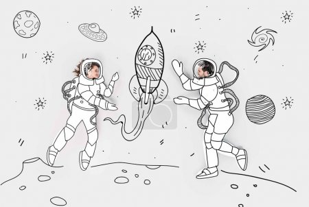 creative hand drawn collage with couple in space suits and rocket