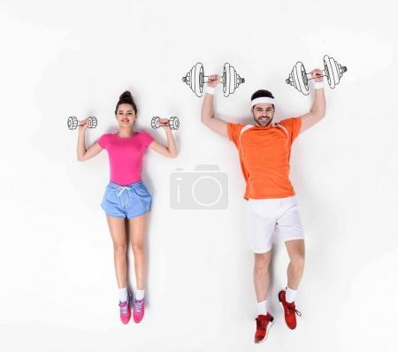 creative hand drawn collage with couple working out with dumbbells