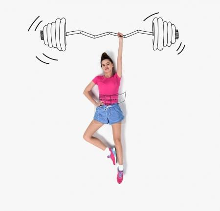 creative hand drawn collage with woman lifting barbell with one hand