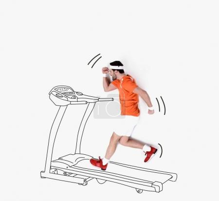 creative hand drawn collage with man running on treadmill
