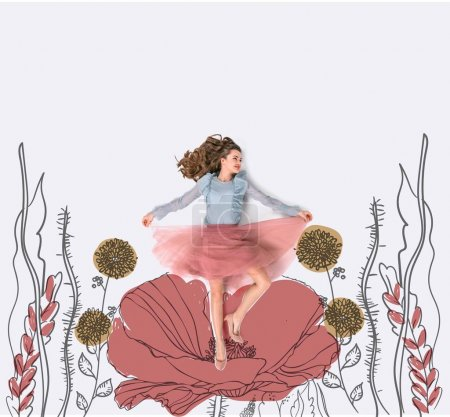 creative hand drawn collage with woman surrounded with beautiful flowers