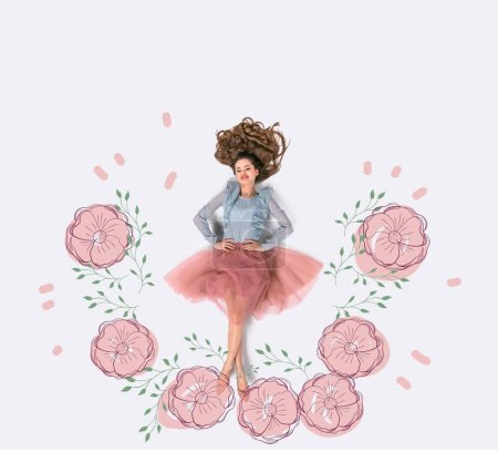 Photo for Creative hand drawn collage with woman surrounded with flowers - Royalty Free Image