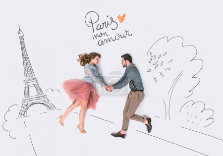 Photo for Creative hand drawn collage with couple and eiffel tower, paris mon amor sign - Royalty Free Image