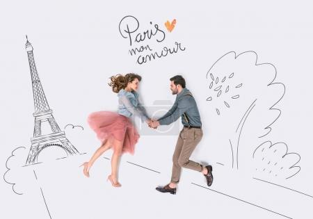creative hand drawn collage with couple and eiffel tower, paris mon amor sign